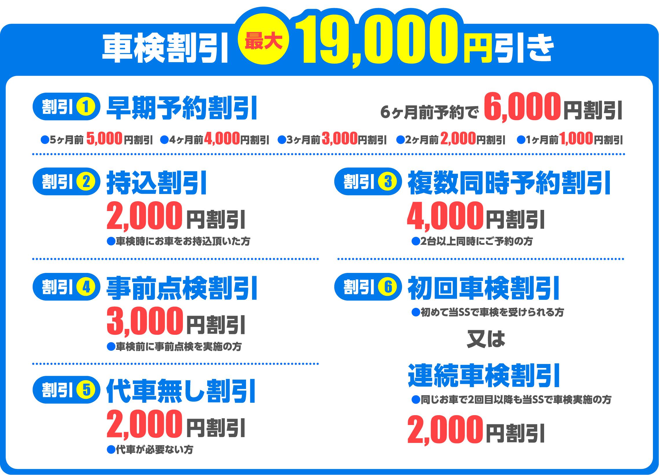 車検割引 最大19,000円引き
